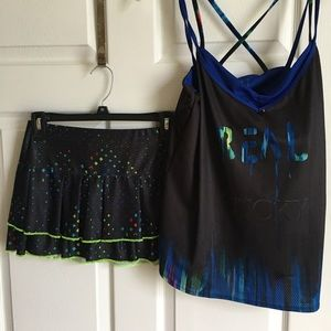 LUCKY in LOVE tennis skirt & top- multi colors